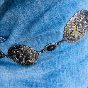Vintage Metal & Black Floral Medallion Chain Belt